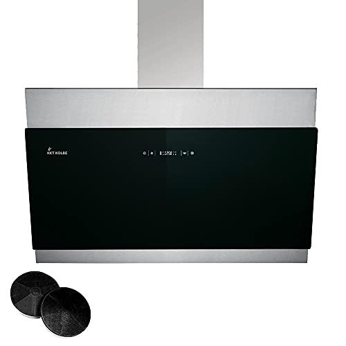 KKT KOLBE/Kopffreie Wandhaube/Dunstabzugshaube / 90cm / Edelstahl/schwarzes Glas/Nachlaufautomatik/SensorTouch Bedienung / BICOLORE906S