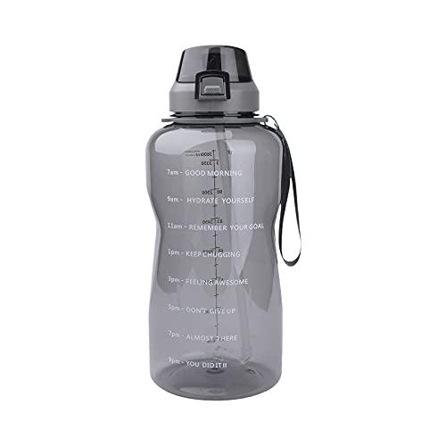 Azebo Botella de agua de 2 L con pajita y marcadores de motivación, Tritan sin BPA, reutilizable, antigoteo, para interior, exterior, deportes, oficina, hogar, 2 litros, color gris