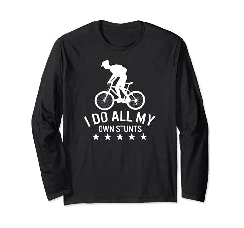 Hago todas mis propias acrobacias Ride Bike Funny Cycling Spin Class Manga Larga