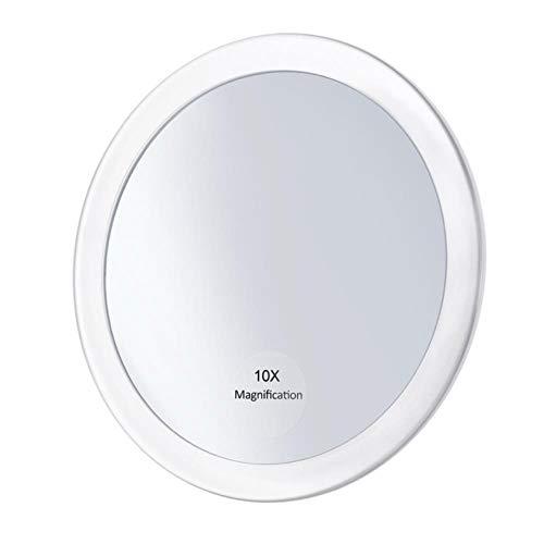 LASISZ Miroir grossissant de Maquillage avec 3 ventouses Make Up Pocket Cosmetic Mirror Grossissement Miroir Compact, 10x