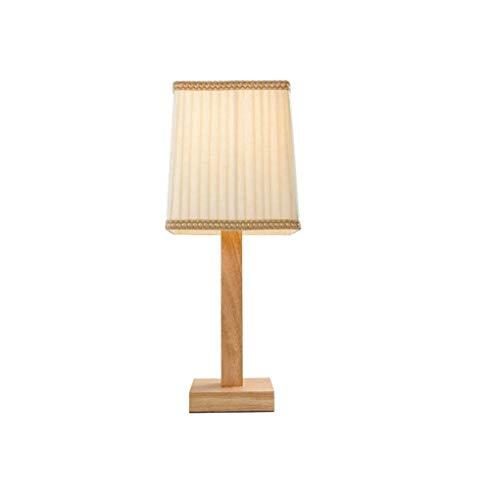MOZUSA Lámpara de Mesa, de Madera Maciza de Tela Simplicidad Moderna lámpara de Estudio del Dormitorio del Estilo Chino de Estilo japonés botón del Interruptor E27 * 1 Fuente de Creatividad nórdica