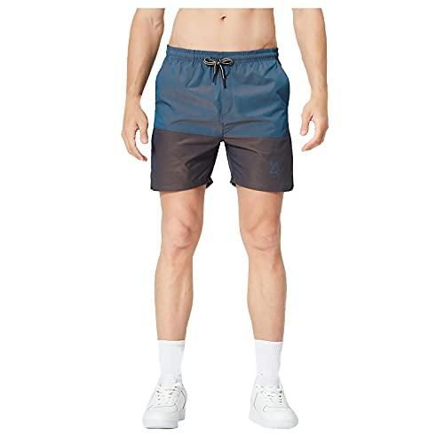 YANFANG Pantalones De Cinco Puntos para Deportes Al Aire Libre Sueltos Sarga Intermitente Verano Hombres,Pantalones Cortos Cintura EláStica con CordóN, Ajustados En La Playa,2-Blue,L