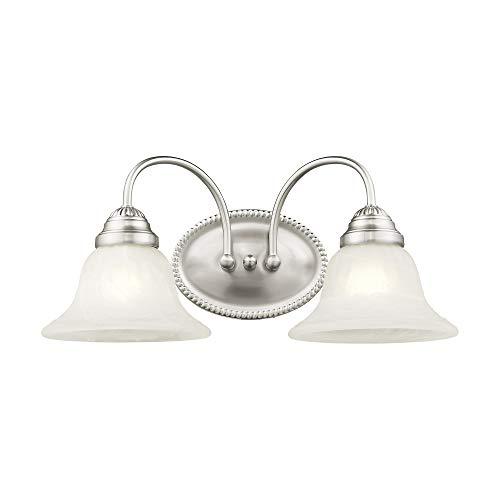 Iluminación Livex 1532–91Edgemont 2luz mueble para lavabo níquel cepillado con cristal blanco alabastro