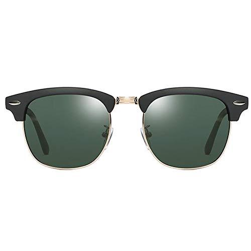 Zhhhk Polarizado Clásico Retro UV400 Gafas De Sol Tendencia Arena Negro Marco Atrovirens Lente Damas Gafas De Sol De Los Hombres Espejo De Conducción
