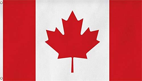 normani Flagge - Fahne - Hissfahne mit Zwei Metallösen zur Befestigung und zum Hissen - Größe 90 x 150 cm wetterfest Farbe Kanada