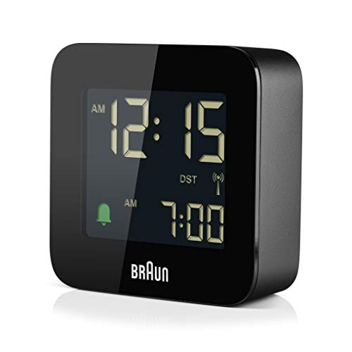 Braun Digital Radio Controlled Travel Analogue Alarm Clock for Central European Time Zone (DCF) with Snooze, Compact Size, Crescendo Beep Alarm in Black, Model BC08B-DCF.