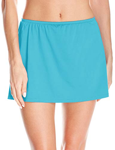 24th & Ocean Women's Plus Size Solid Skirted Hipster Bikini Swimsuit Bottom, Lagoon, 16W