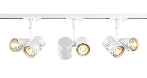 SLV LED Schienensystem Bima Spot, Starter Set, 1Phasen Schienen-Leuchte zur Individuellen Innen-Beleuchtung, Dreh- und Schwenkbare Decken-Spots, Strahler-Schiene, Deckenstrahler, Decken-Lampe, 6x GU10