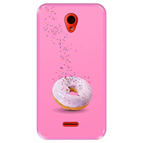 Hapdey Funda Rosa para [ Wolder Wiam 23 ] diseño [ Donut, Sabor a Fresa ] Carcasa Silicona Flexible TPU