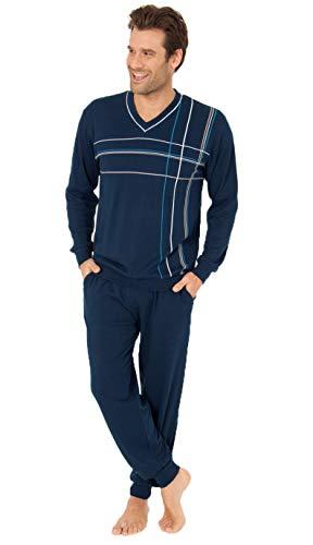 Herren Pyjama mit Bündchen, Schlafanzug in eleganter Streifenoptik - 55421, Farbe:Navy, Größe2:48/50
