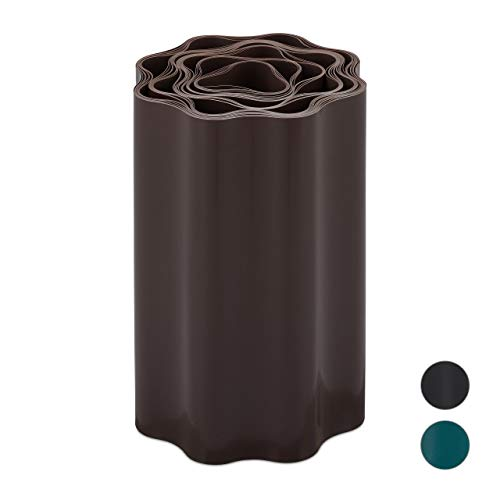 Relaxdays Flexible Rasenkante, wellige Beeteinfassung aus Kunststoff, Umrandung für Rasen & Beet, HT: 20 x 900 cm, braun