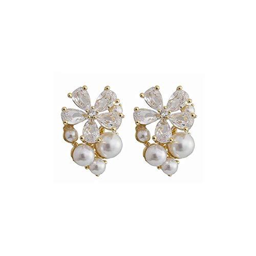 Pendientes Mujer Pendientes Elegantes De Flores De Cristal A La Moda, Pendientes Pequeños De Perlas Brillantes Y Dulces para Mujer