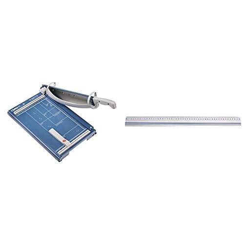 Dahle 561 Schneidemaschine (Bis DIN A4, 35 Blatt Schneidleistung) blau & Wedo 525450 Schneidelineal (aus Aluminium, mit Stahlkante und rutschsicherer Gummieinlage, 50 cm)