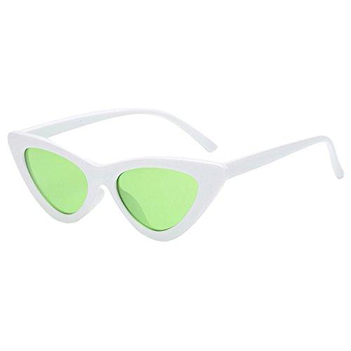 Harilla 2017 Mujer Gafas de Sol Ojo de Gato Marco Vintage Gafas de Sol Retro UV400 - Blanco + Verdes