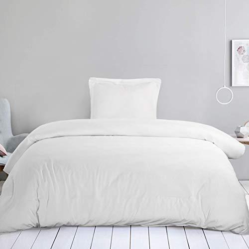 EDILLY Kühlende Bettwäsche 135 x 200 cm, Mikrofaser, 1 Kissenbezug 80 x 80 cm, Weiß