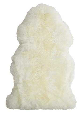 "Single Pelt, New Zealand Premium Sheepskin, Ivory Rug, XL 103cm / 40"", Thick Soft Luxurious Natural Wool, by Minidoka Sheepskin"