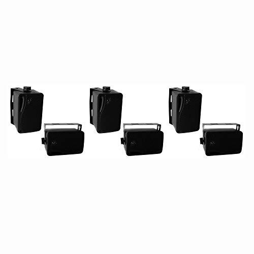 Pyle PLMR24B 3.5 Inch 3 Way Weatherproof Marine Audio Speakers, Black (3 Pair)