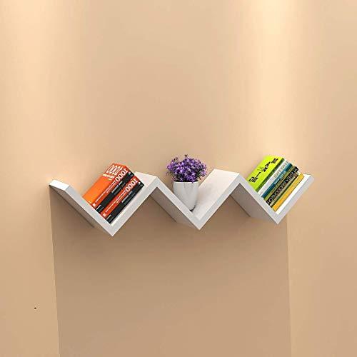 YXZQ Wandregal, W-förmige schwimmende Wand Holzregale mit Retro-Design Wandregal Bücherregal Anzeigeeinheit, 3 Farben Optionale Bücherregal Regalhalterung