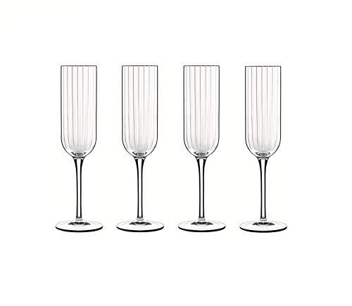 Luigi Bormioli 7540469 Boîte de 4 Flûtes, Cristal, Transparent, 5,5x5,3x23,5 cm