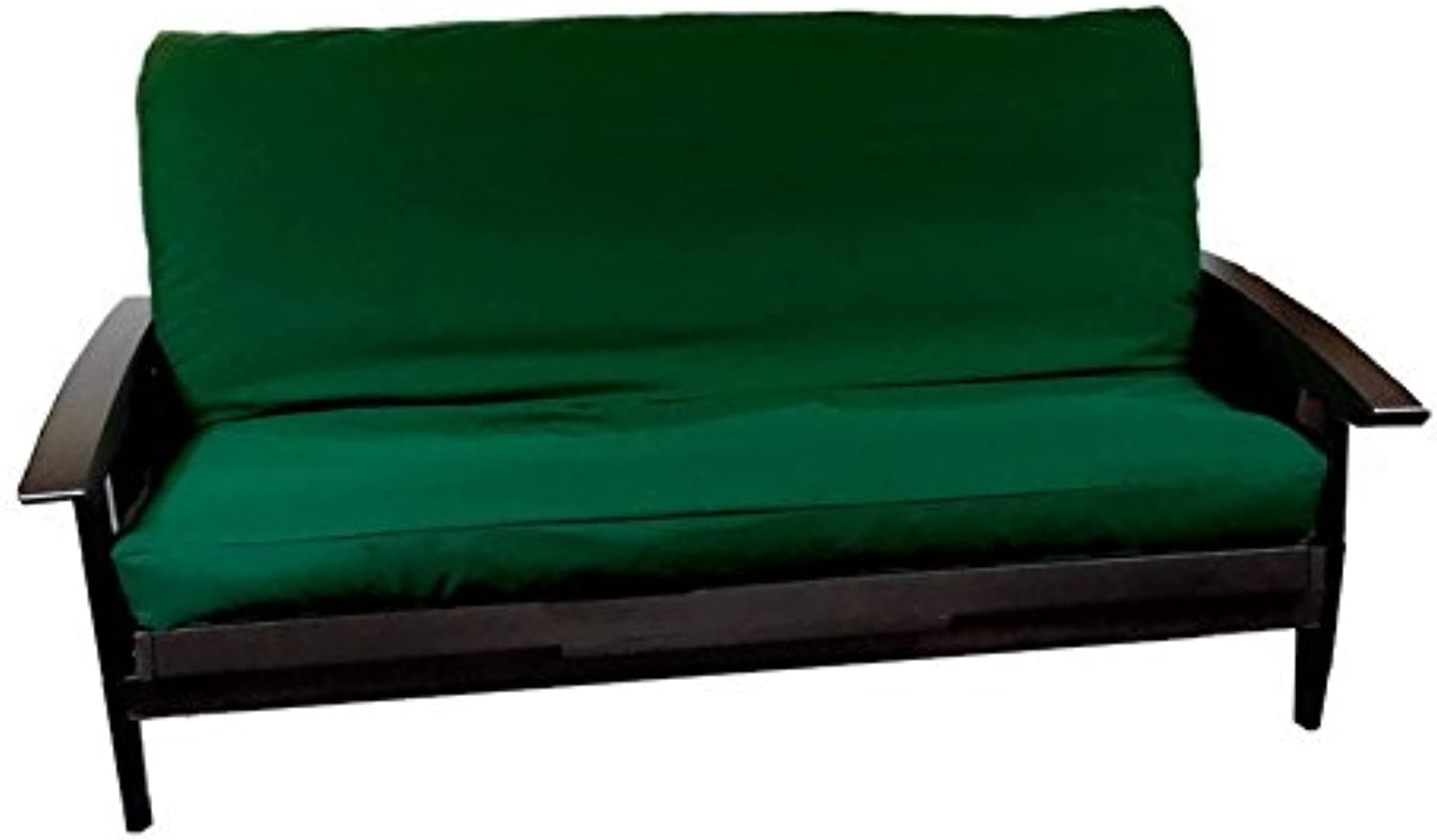 Futon Cover with 3 Sided Zipper - Factory Direct - Full or Queen - Solid colors - Premium Cotton Polyester Blend - Futon Mattress Cover (Hunter Green, Full (Fits 6  to 8  Mattress))