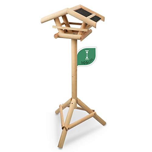 WILDLIFE FRIEND | Pajarera con soporte de madera, comedero, estación de alimentación para aves silvestres, comedero para pájaros para colocar en el jardín o el balcón