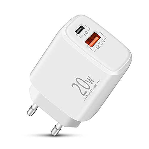 Cargador iPhone 12 LUOSIKE, Cargador Rápido USB C de 20W, Enchufe Adaptador de Corriente con Tipo C y A, Compatible con iPhone 12/11/Pro Max/XS/XR/X/8/Plus/SE 2020/mini, Samsung S21 y Más