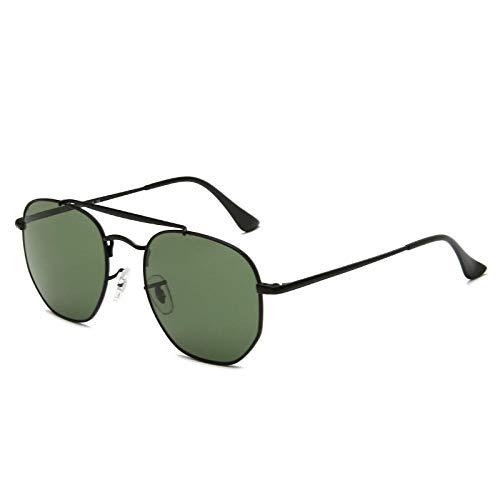 Gafas de sol cuadradas poligonales gafas de sol retro para hombres y mujeres con el mismo espejo-Con logo_Marco negro: verde oscuro