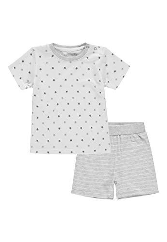Bellybutton Kids Unisex Baby 2tlg. T-Shirt 1/4 Arm, Shorts Zweiteiliger Schlafanzug, Grau (Silver Melange|Gray 8885), 86