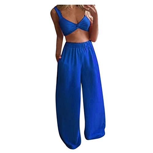Tops Pants Set Damen Lässig Solide ärmellose Camis Tops + Lange Hosen 2-teiliges Set (M,2blau)