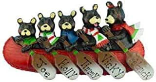 Bear Canoe Family of 5 Personalized Ornament - (Unique Christmas Tree Ornament - Classic Decor for A Holiday Party - Custom Decorations for Family Kids Baby Military Sports Or Pets)