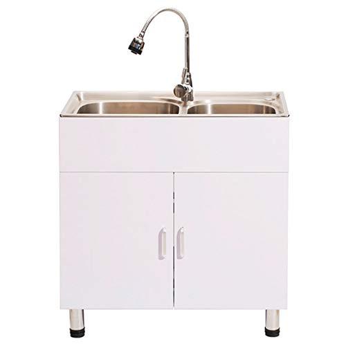 GXFC RVS wastafel en houten kast, 2 kom grote wastafel kabinet, met kraan en afvoer Kit, voor elke bijkeuken, keuken, badkamer, of wasserij