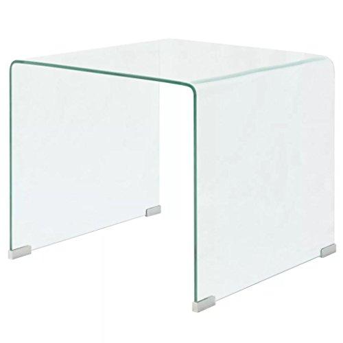 Beistelltisch Glas, Sofatisch Couchtisch, Kaffeetisch eckig, Telefontisch Wohnzimmer, Glastisch Sicherheitsglas aus gehärtetem Sicherheitsglas Kaffeetisch 49,5x50x45cm Wohnzimmertisch Transparent