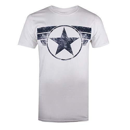 Marvel Captain America-Cap Logo Camiseta, Blanco (White White), Large para Hombre