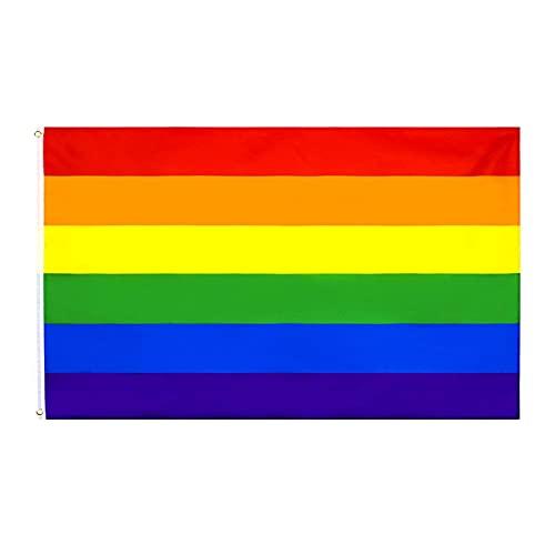 Gay Pride Bandera, Bandera del Arco Iris Arcoiris LGBT Flag, Anti UV y Viento, colores vivos y resistente a los rayos UV,Arcoiris Orgullo Gay Festival Celebración Diversidad 90x150cm