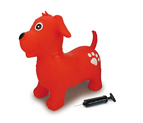 Jamara 460454 - Bouncy Animal Dog Red with Pump - Promotes Balance and Motor Skills, Animal Ears as A Support, Robust, Easy-Care, Up to 50 kg