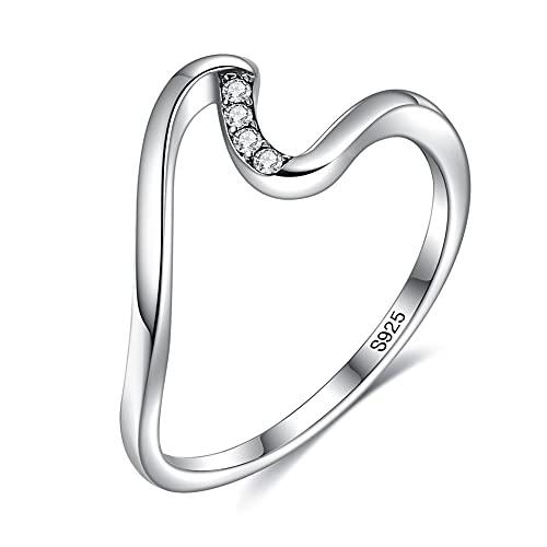 Wave Shape 925 Sterling Silver Women Cubic Zirconia Ring Stacking Wedding Ring Girls Birthday Gift (6)