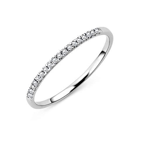 Miore Ring Damen Hochzeitring/Ewigkeitsring Weißgold 18 Karat/750 Gold Diamant Brillianten 0,09 ct