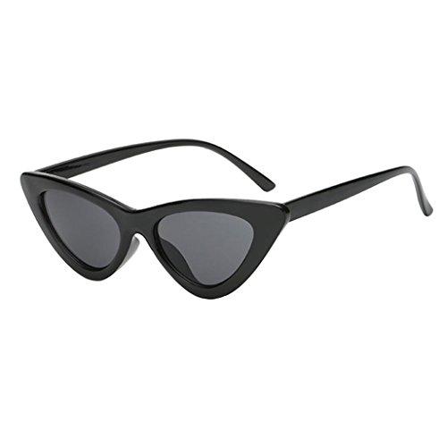 SM SunniMix Gafas de Mujer para Mujer, Gafas de Sol con Espejo de Moda Vintage, Triángulo de Ojo de Gato, UV400 - Negro