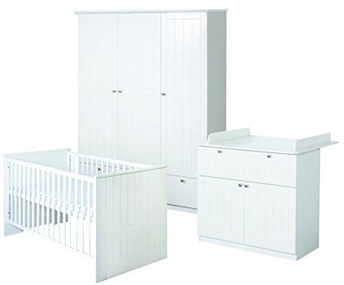 roba Komplett-Kinderzimmer 'Dreamworld 3', Babyzimmer Set gefräst weiß inkl. Baby- bzw. Kinderbett 70x140 cm, Wickelkommode & 3-türigem Schrank