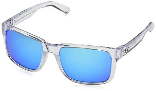 Under Armour Assist Gafas de sol cuadrado, (Marco de vidrio brillante/goma transparente esmerilada/gris/azul espejo.), Talla única