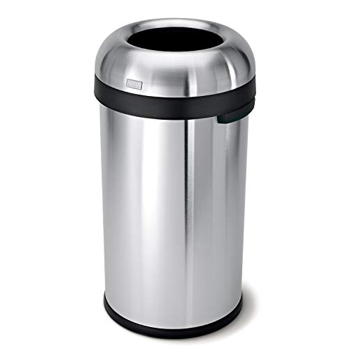 simplehuman 60 Liter / 16 Gallon Bullet Open Top Trash Can, Commercial Grade Heavy Gauge, Brushed Stainless Steel