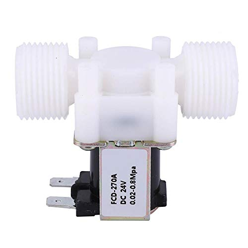 Electroválvula eléctrica unidireccional de plástico G3/4 NC, válvula electromagnética con rosca macho de entrada de agua normalmente cerrada (DC24V)