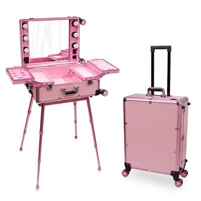 Mdsfe Nueva Estuche de cosméticos Caja LED Espejo Iluminado Maquillaje Maleta de Viaje Artista Tocador portátil con Patas Equipaje con Ruedas - Rosa