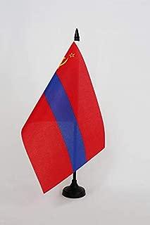 AZ FLAG Armenian Soviet Socialist Republic Table Flag 5'' x 8'' - Armenia SSR Desk Flag 21 x 14 cm - Black Plastic Stick and Base