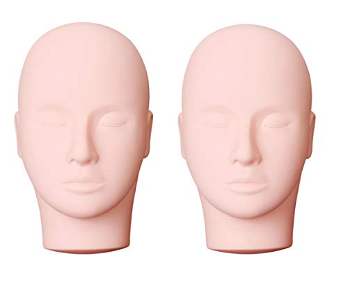 Yephets Pro Training Mannequin Flat Head Practice Make Up Eye Lashes Eyelash Extensions,Practice Training Head Manikin Cosmetology Mannequin Doll Face Head-2 Pack