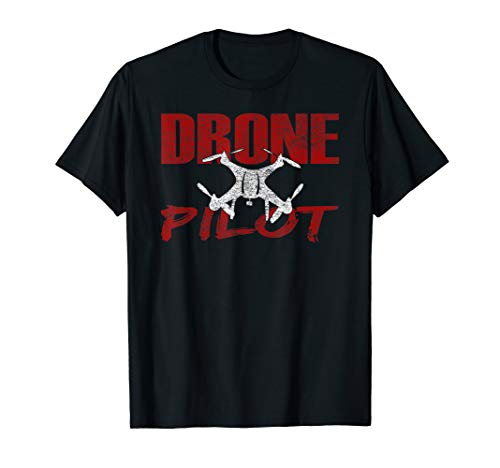 Drone Pilot Caution Quadcopter Flying Front & Back Design T-Shirt