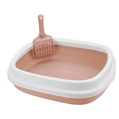 Huisdier toilet LKU Kitten indoor huishoudelijke plastic zandbak met lepel kattenbak kattenbak hond huisdier toilet, roze