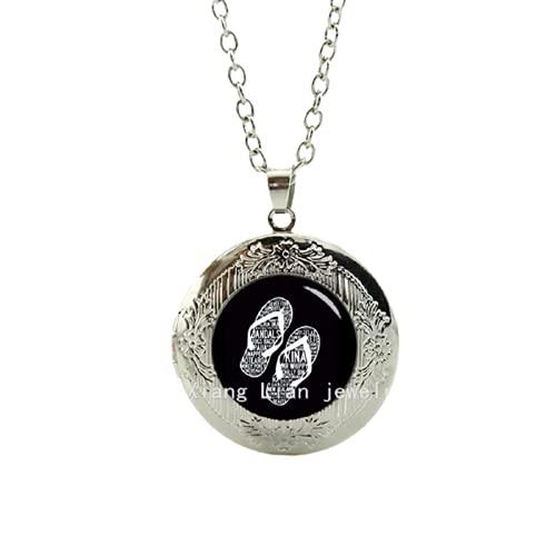 Collier - Collar con medallón de moda para la amistad, diseño de letra