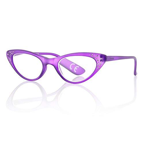 Occhiali da Vista Premontati 69878 con Potere +3.00 di colore Viola con Strass