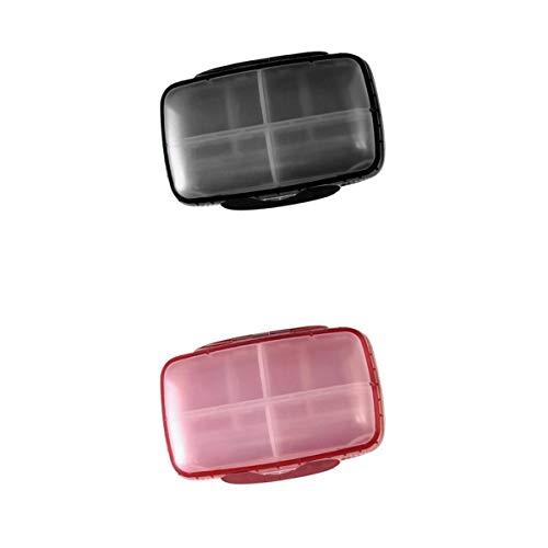 #N/A/a Caja de Pastillas para Tabletas de 2 Lotes, Caja de Viaje para Medicamentos, Contenedor Organizador, Negro + Rosa